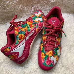 New under armour floral baseball cleats
